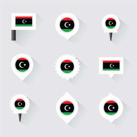 esp: libya flag and pins for infographic, and map design