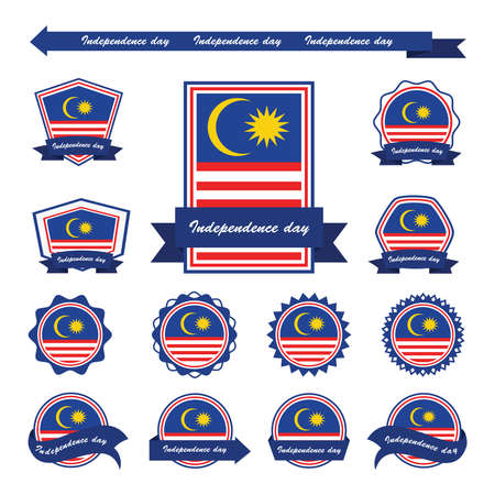 Malaysia independence day flags infographic design