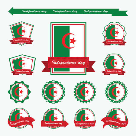 algeria: algeria independence day flags infographic design