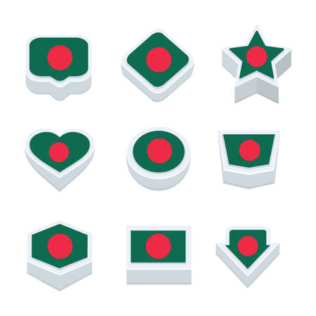 regional: bangladesh flags icons and button set nine styles
