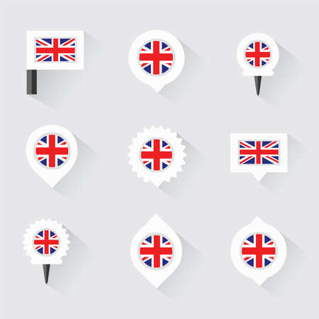 esp: united kingdom flag and pins for infographic, and map design