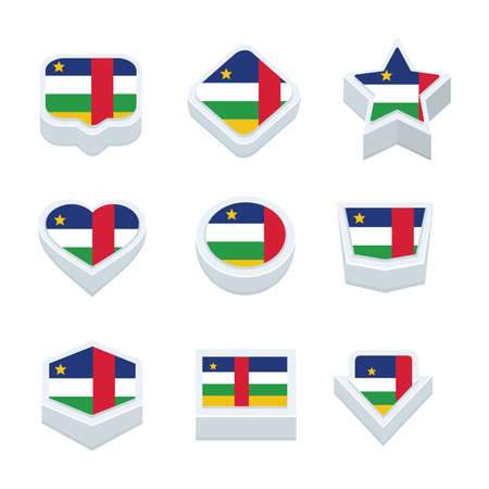 central african republic: central african republic flags icons and button set nine styles