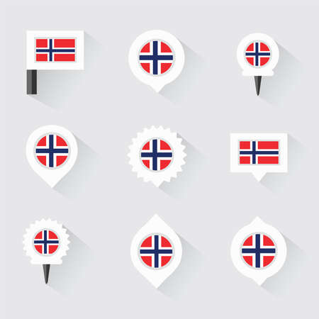 norway flag: norway flag and pins for infographic, and map design Illustration