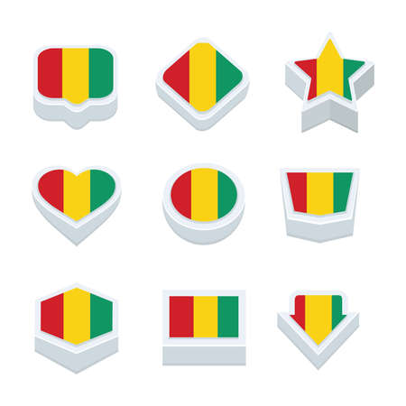 bevel: guinea flags icons and button set nine styles Illustration