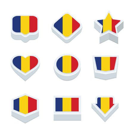regional: romania flags icons and button set nine styles
