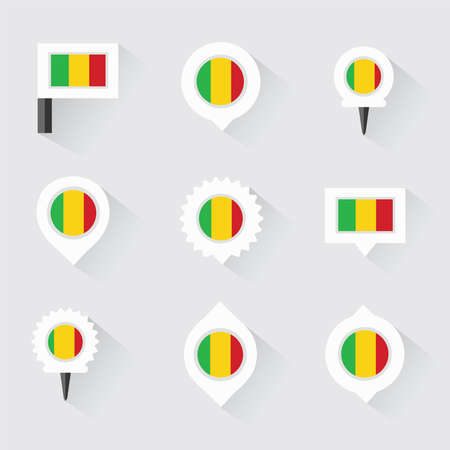 esp: mali flag and pins for infographic, and map design