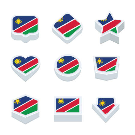regional: Namibia flags icons and button set nine styles