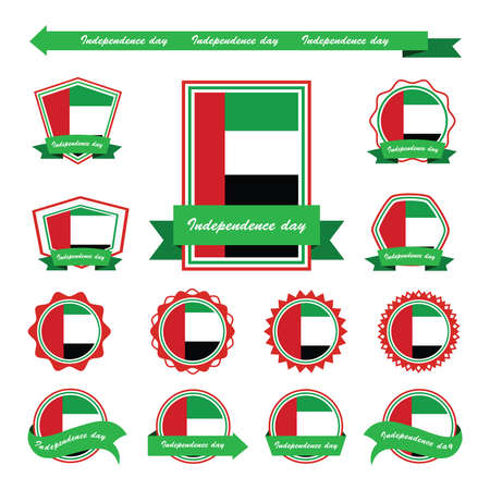 arab flags: united arab emirates independence day flags infographic design Illustration