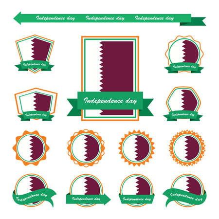 qatar: qatar independence day flags infographic design Illustration
