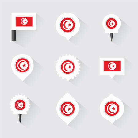 esp: tunisia flag and pins for infographic, and map design