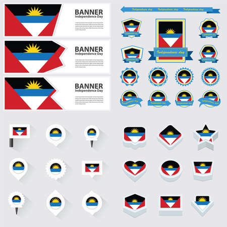 barbuda: antigua and barbuda independence day, infographic, and label Set. Illustration