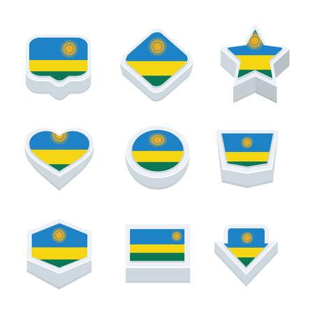 world  hexagon: Rwanda flags icons and button set nine styles