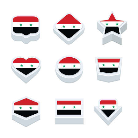 regional: syria flags icons and button set nine styles
