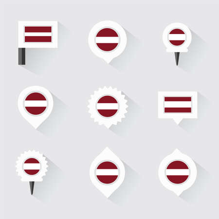 latvia flag: latvia flag and pins for infographic, and map design
