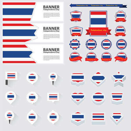flag banner: thailand independence day, infographic, and label Set.