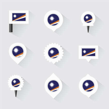 marshall: Marshall Islands flag and pins for infographic, and map design