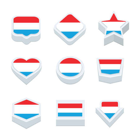 nine: luxembourg flags icons and button set nine styles Illustration