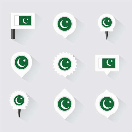 pakistan flag: pakistan flag and pins for infographic, and map design Illustration