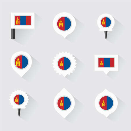 mongolia: mongolia flag and pins for infographic, and map design