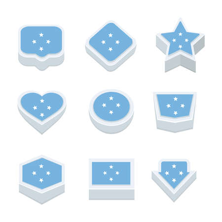 regional: micronesia flags icons and button set nine styles Illustration