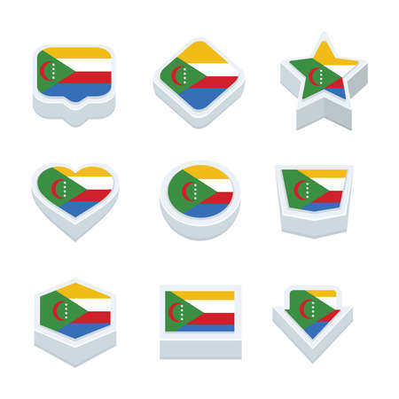 regional: comoros flags icons and button set nine styles Illustration