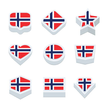 regional: norway flags icons and button set nine styles Illustration