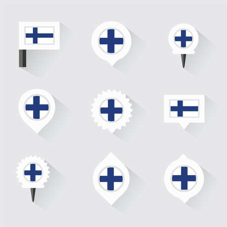 FINLAND flag: finland flag and pins for infographic, and map design