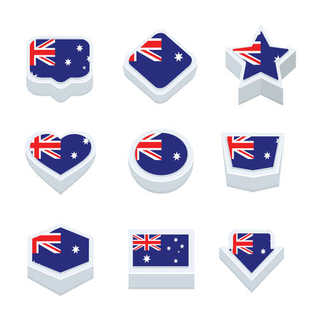 world  hexagon: australia flags icons and button set nine styles Illustration