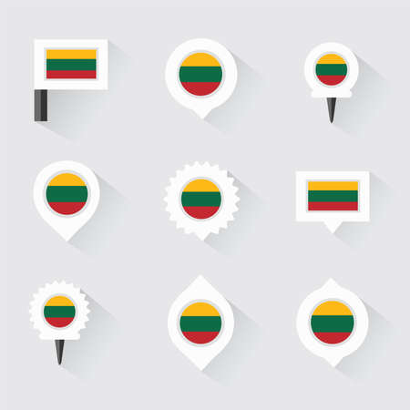 lithuania flag: lithuania flag and pins for infographic, and map design Illustration