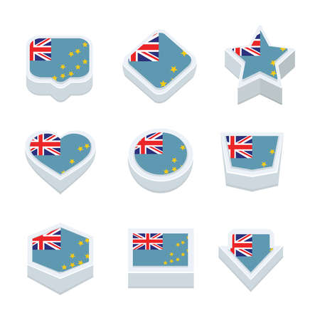 bevel: Tuvalu flags icons and button set nine styles