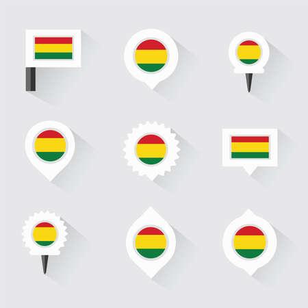 mapa de bolivia: bandera de Bolivia y pines para infografía y diseño de mapas