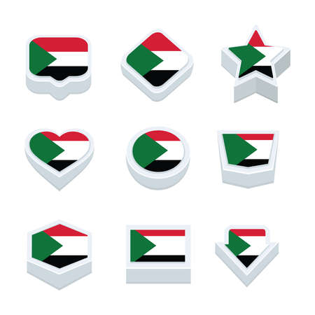 regional: sudan flags icons and button set nine styles