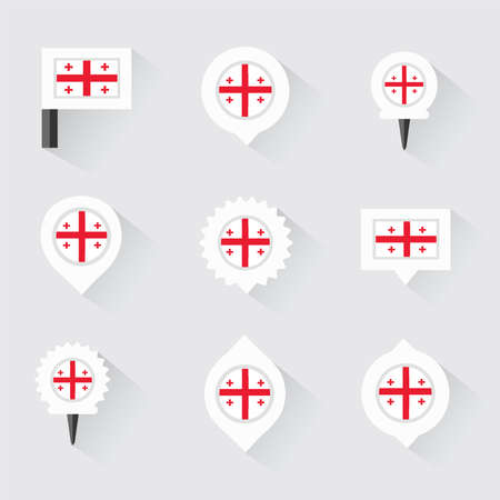 georgia flag: georgia flag and pins for infographic, and map design