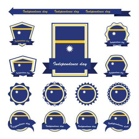 nauru: Nauru independence day flags infographic design