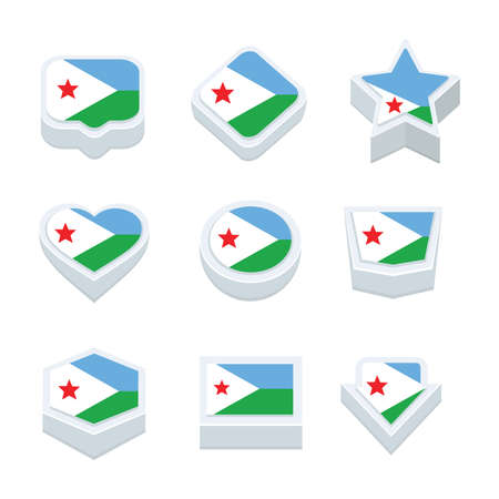 regional: djibouti flags icons and button set nine styles