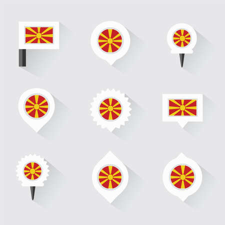 esp: macedonia flag and pins for infographic, and map design