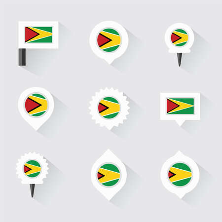 guyana: guyana flag and pins for infographic, and map design