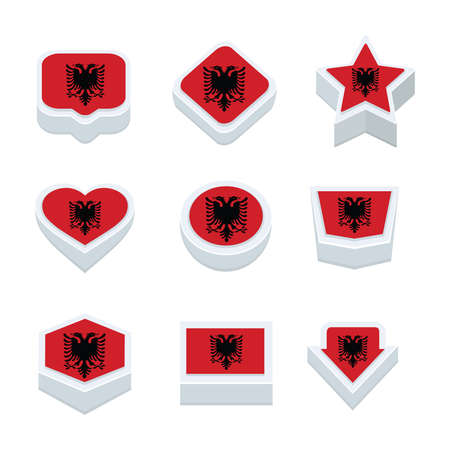 nine: albania flags icons and button set nine styles