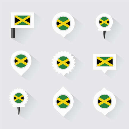 esp: jamaica flag and pins for infographic, and map design