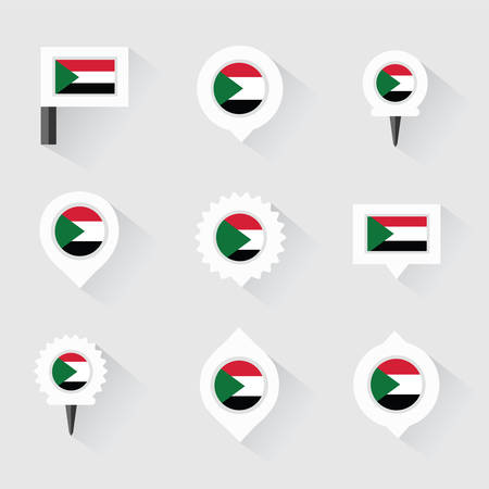 esp: sudan flag and pins for infographic, and map design Illustration