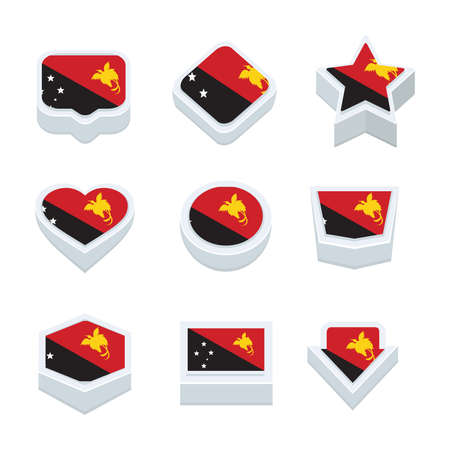 regional: Papua New Guinea flags icons and button set nine styles Illustration