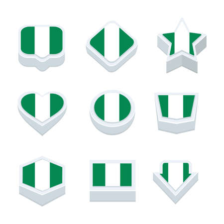nine: nigeria flags icons and button set nine styles Illustration