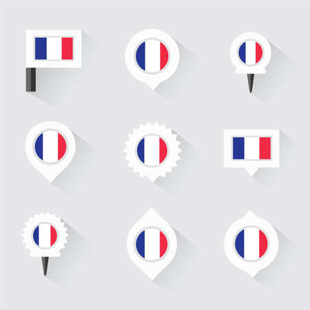 esp: france flag and pins for infographic, and map design Illustration
