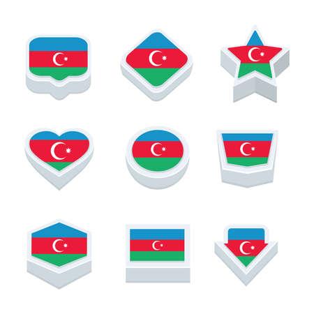 regional: azerbaijan flags icons and button set nine styles Illustration