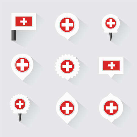 esp: switzerland flag and pins for infographic, and map design