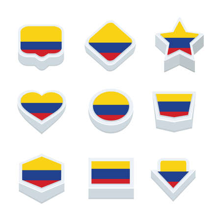 world  hexagon: colombia flags icons and button set nine styles