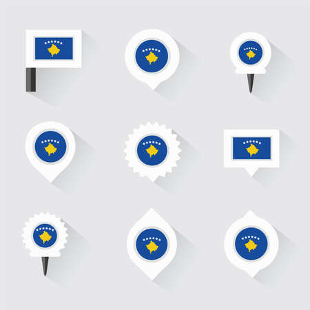 esp: Kosovo flag and pins for infographic, and map design Illustration