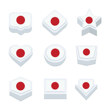 regional: japan flags icons and button set nine styles