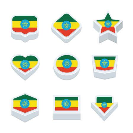 world  hexagon: ethiopia flags icons and button set nine styles