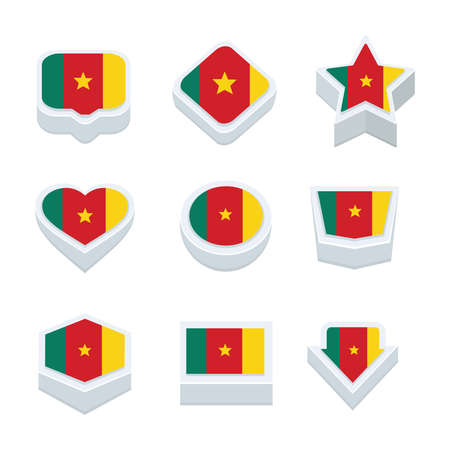 world  hexagon: cameroon flags icons and button set nine styles Illustration